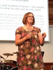 Claire preaching at our celebration marking her twelve years as our youth minister at Burlington.